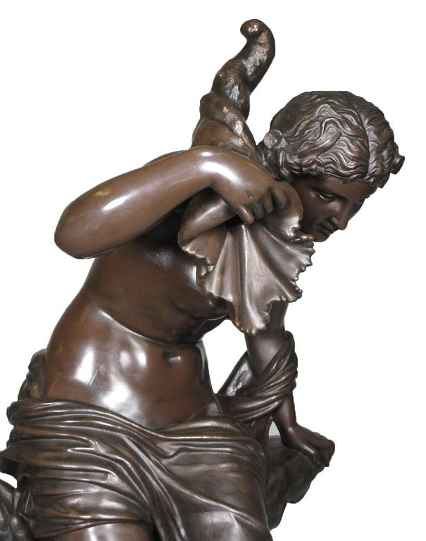 Large French 19th Century Cast-Iron Fountain Figure of a Seated Nude Maiden For Sale 2