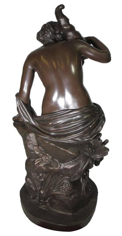 Large French 19th Century Cast-Iron Fountain Figure of a Seated Nude Maiden For Sale 3