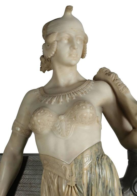 Greco Roman Lifesize Italian 19th Century Marble Figure of Cleopatra by Eliseo Fattorini For Sale