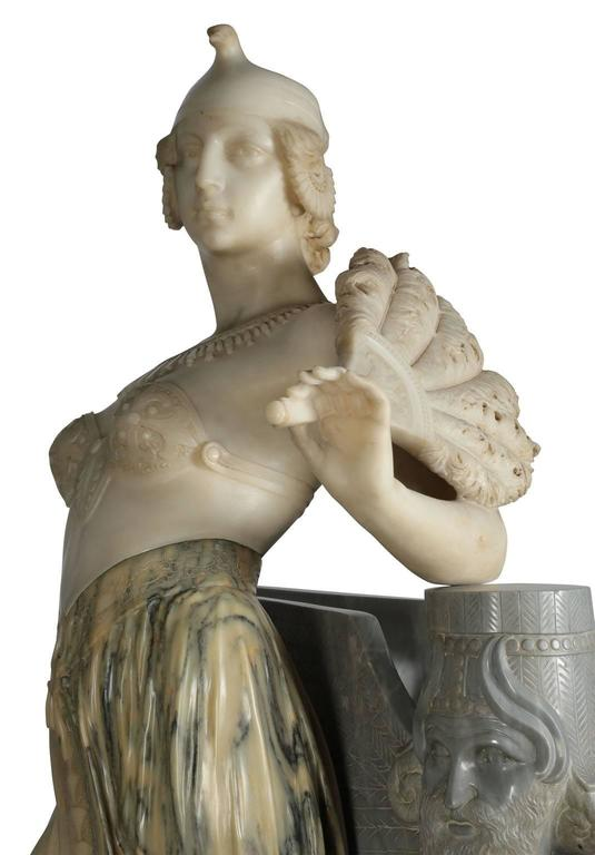 Lifesize Italian 19th Century Marble Figure of Cleopatra by Eliseo Fattorini For Sale 1