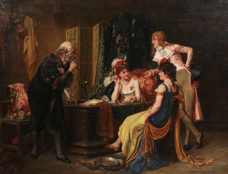 """Victor-Henri Juglar (French, b. 1826) Oil on canvas """"Incroyable and Marveilleuses Selling Jewels During the Directoire"""" within its original giltwood and gesso carved frame. Signed and dated: V. Juglar '73. Incroyable and Marveilleuses were"""