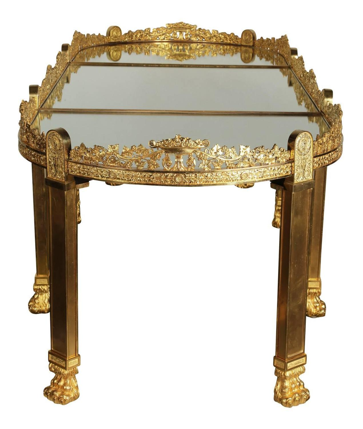 Empire Mirrored Coffee Table: Large French Empire Style Napoleon III Gilt-Bronze Surtout