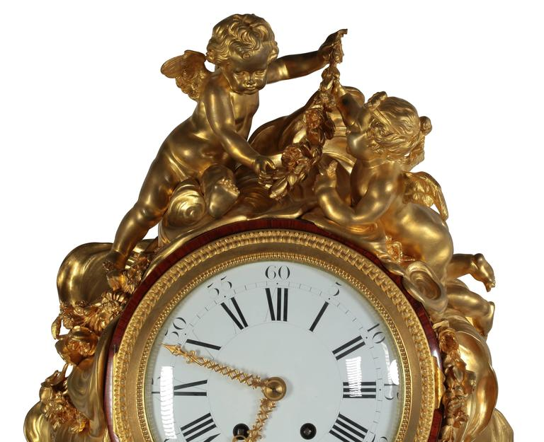 Carved French 19th Century Louis XVI Style Ormolu-Mounted Grandfather - Tall Case Clock For Sale