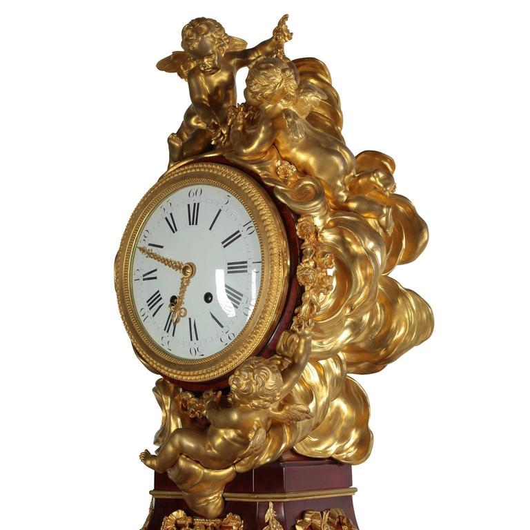 French 19th Century Louis XVI Style Ormolu-Mounted Grandfather - Tall Case Clock For Sale 4