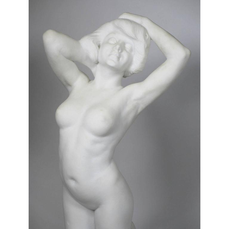 Art Nouveau 19th-20th Century Carved Marble Study Figure of a Kneeling Nude by Alice Nordin For Sale