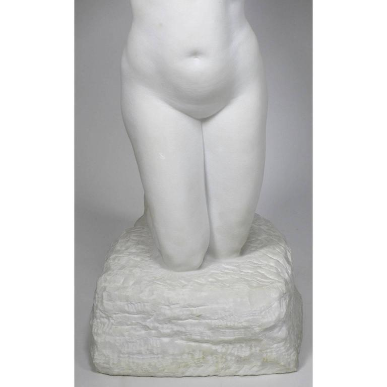 Swedish 19th-20th Century Carved Marble Study Figure of a Kneeling Nude by Alice Nordin For Sale