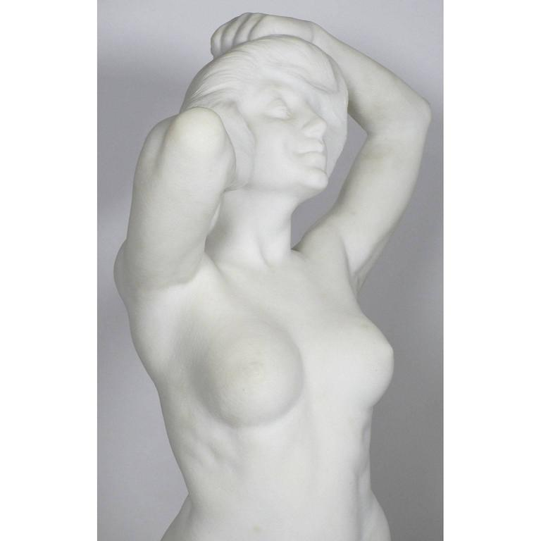 19th-20th Century Carved Marble Study Figure of a Kneeling Nude by Alice Nordin In Excellent Condition For Sale In Los Angeles, CA