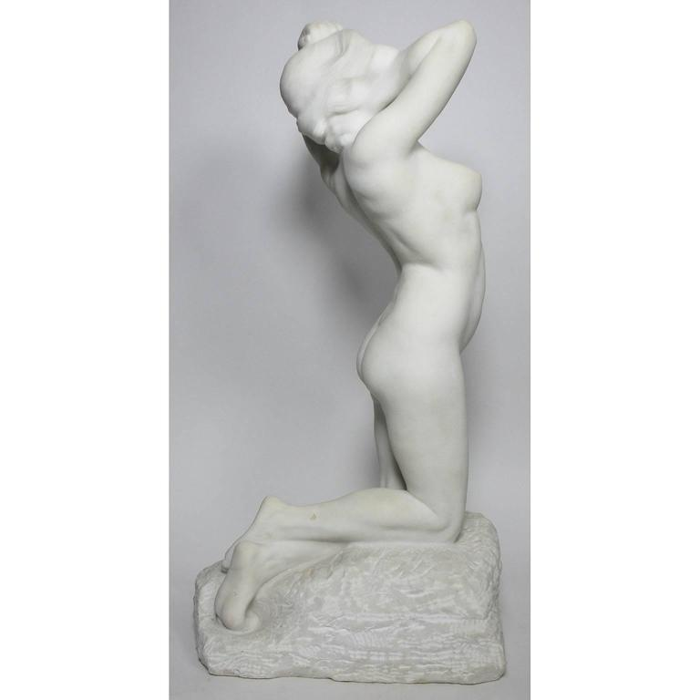Early 20th Century 19th-20th Century Carved Marble Study Figure of a Kneeling Nude by Alice Nordin For Sale
