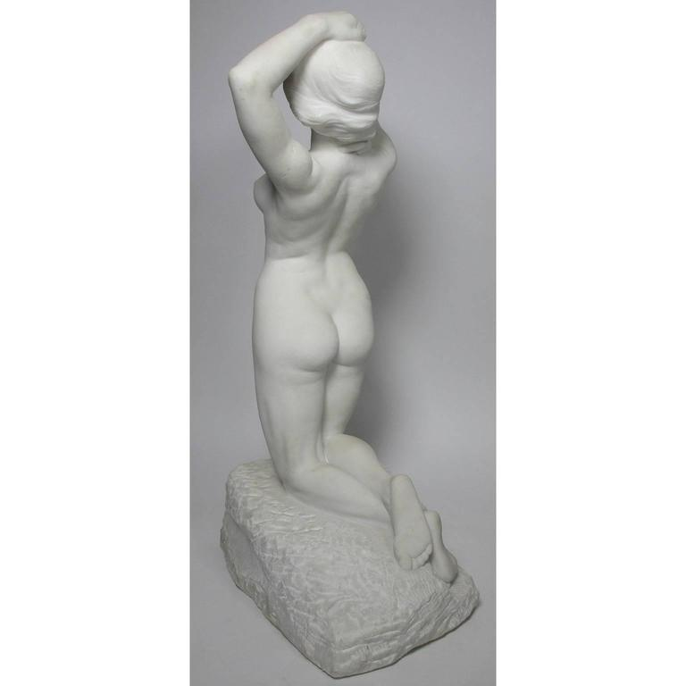 19th-20th Century Carved Marble Study Figure of a Kneeling Nude by Alice Nordin For Sale 1