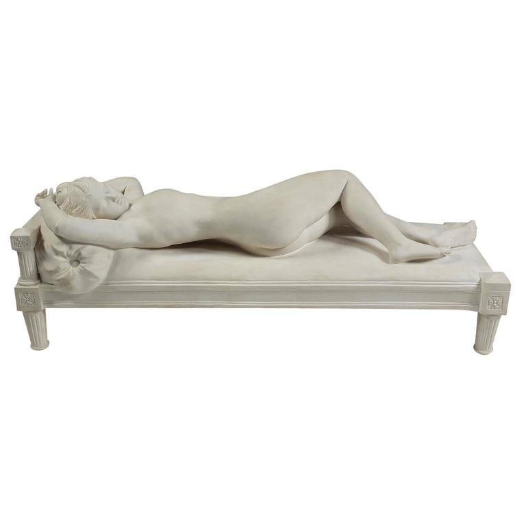 A very fine French Sevres biscuit (Bisc) porcelain figure of a recumbent nude lady titled