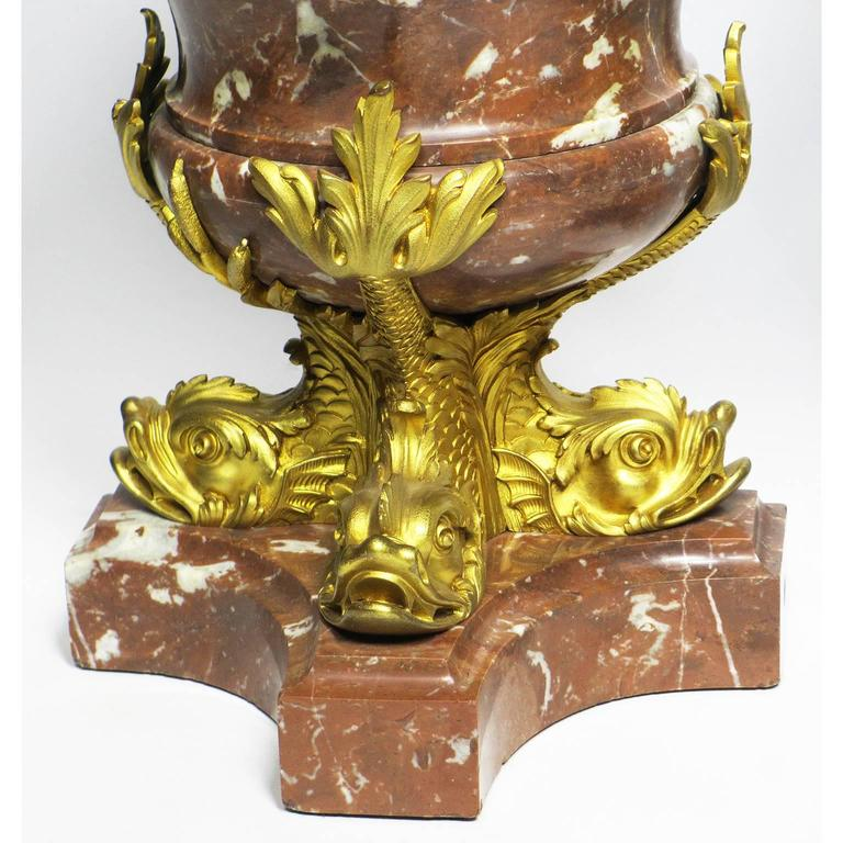 Fine Pair of French 19th Century Marble and Gilt Bronze-Mounted Flambeaux Urns In Good Condition For Sale In Los Angeles, CA
