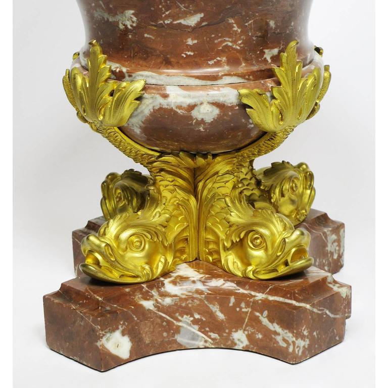 Fine Pair of French 19th Century Marble and Gilt Bronze-Mounted Flambeaux Urns For Sale 1