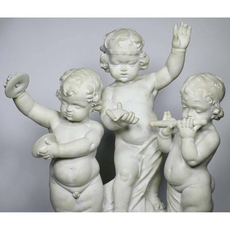 Rococo Charming Italian 19th Century Carrara Marble Group