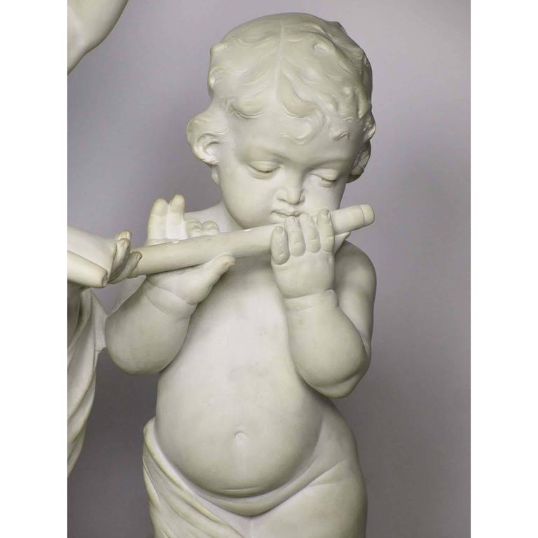 Charming Italian 19th Century Carrara Marble Group