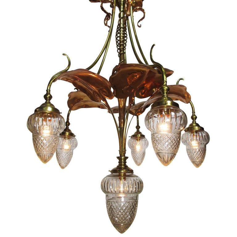 Art Nouveau Arts And Crafts Movement 6 Light Chandeldeier Prob By W A S Benson For Sale At