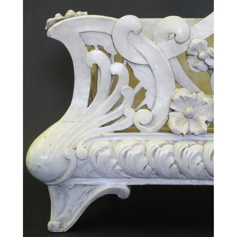 A fine French 19th-20th century Art-Nouveau (1885-1917) white-painted carved wood planter - Jardiniere, in the manner of Hector Guimard (French, 1867-1942). The rectangular body with rounded edges and carvings of flowers and scrolls, raised on