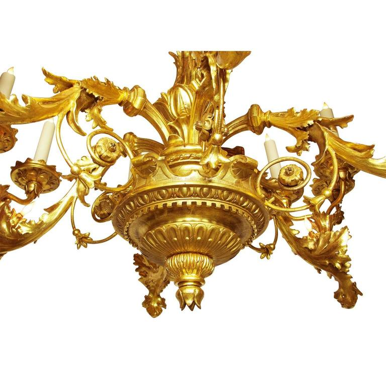 Palatial Italian 19th Century Florentine Rococo Giltwood Carved Chandelier In Good Condition For Sale In Los Angeles, CA