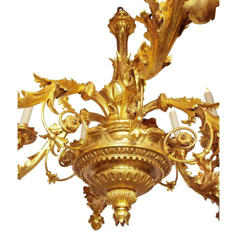 Wrought Iron Palatial Italian 19th Century Florentine Rococo Giltwood Carved Chandelier For Sale