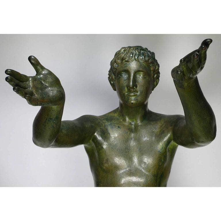 Italian Large Pair of Neoclassical Greco Roman Style 19th Century Cast-Iron Figures For Sale