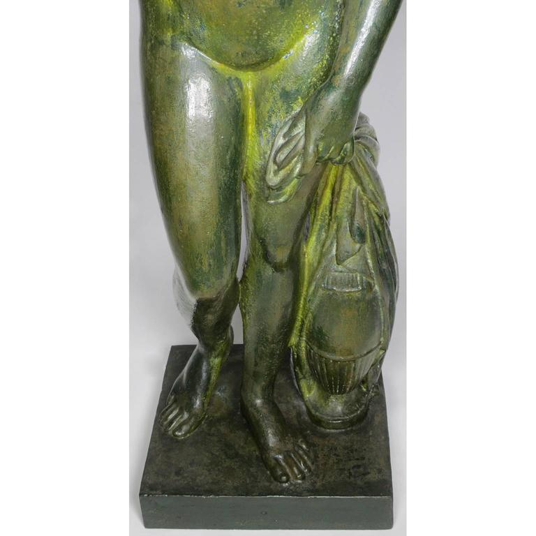 Large Pair of Neoclassical Greco Roman Style 19th Century Cast-Iron Figures For Sale 3