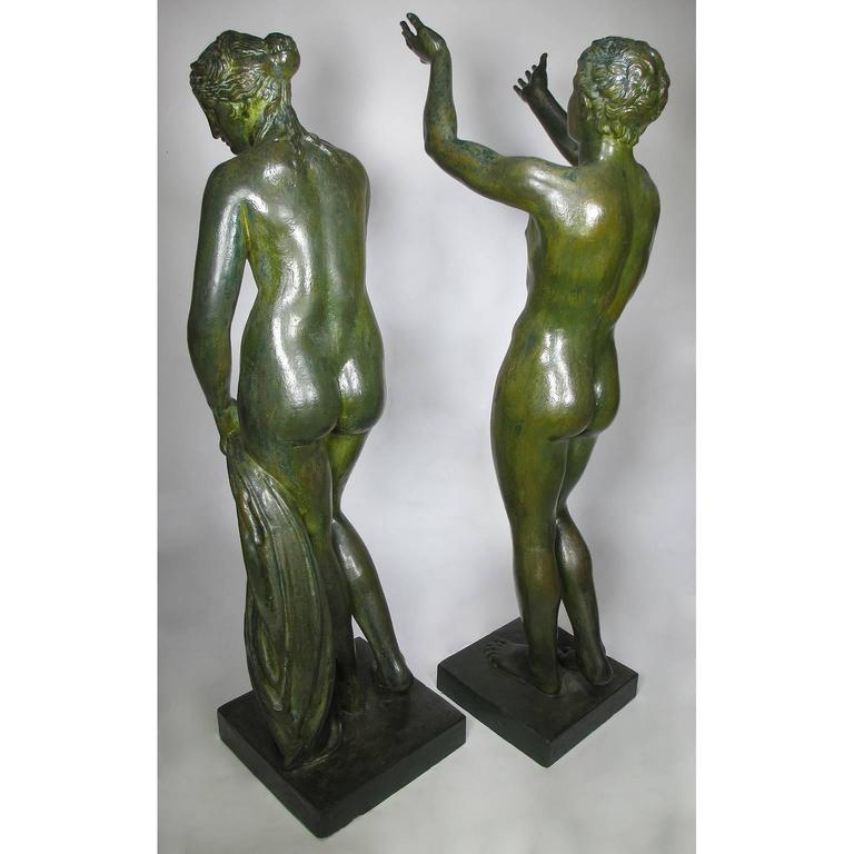 Large Pair of Neoclassical Greco Roman Style 19th Century Cast-Iron Figures For Sale 5