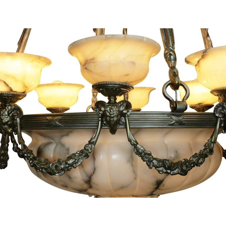 Early 20th Century Rare Early French 20th Century Art Deco Bronze and Carved Alabaster Chandelier For Sale