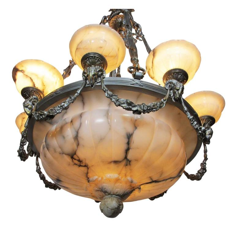 Rare Early French 20th Century Art Deco Bronze and Carved Alabaster Chandelier For Sale 1