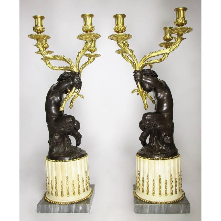 Fine Pair of French 19th Century Gilt and Patinated Bronze Figural Candelabra For Sale 3