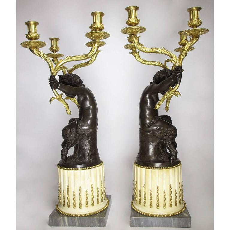 Fine Pair of French 19th Century Gilt and Patinated Bronze Figural Candelabra For Sale 4