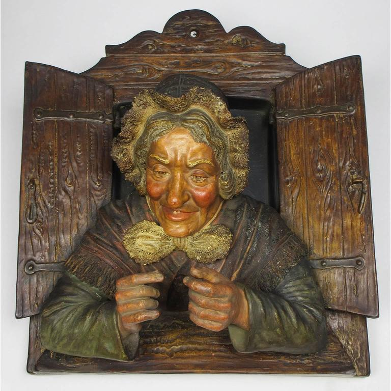 Charming Pair of Austrian 19th Century Polychromed Majolica Wall Sculptures For Sale 2