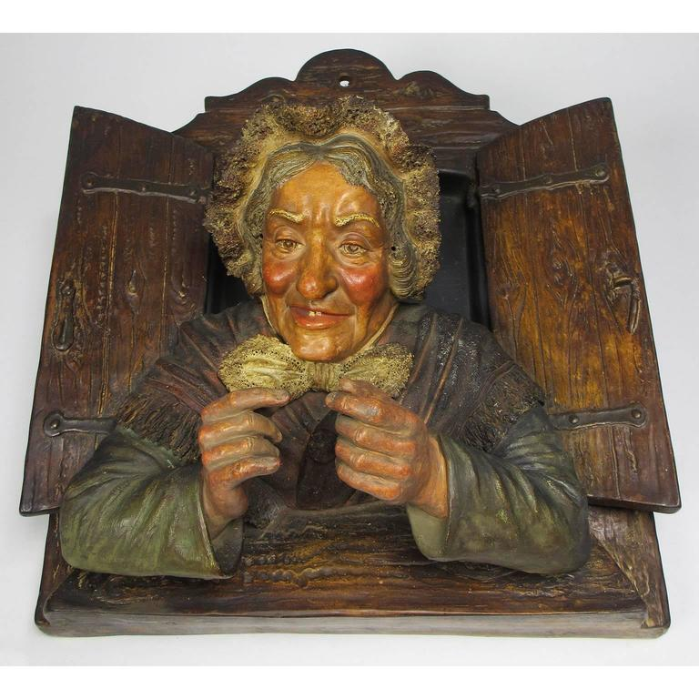 Charming Pair of Austrian 19th Century Polychromed Majolica Wall Sculptures For Sale 3