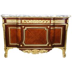 Fine French 19th Century Louis XVI Style Ormolu-Mounted Tulipwood Commode