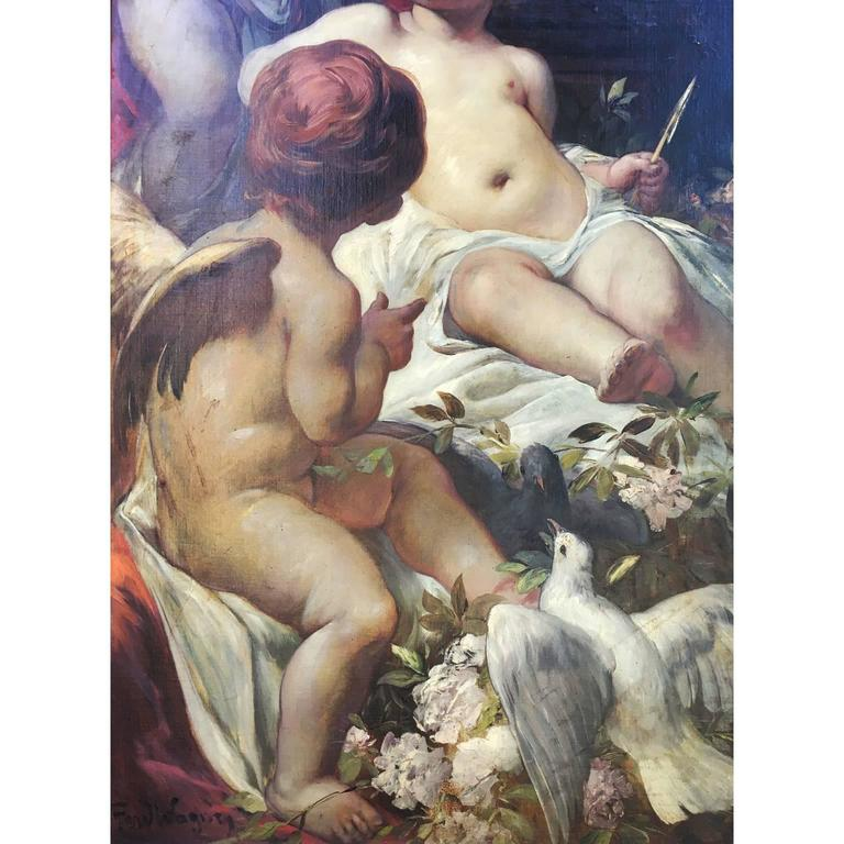 Gilt German 19th Century Oil on Canvas Triptych of Cherubs by Ferdinand Wagner II For Sale