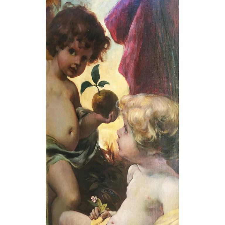 German 19th Century Oil on Canvas Triptych of Cherubs by Ferdinand Wagner II For Sale 1