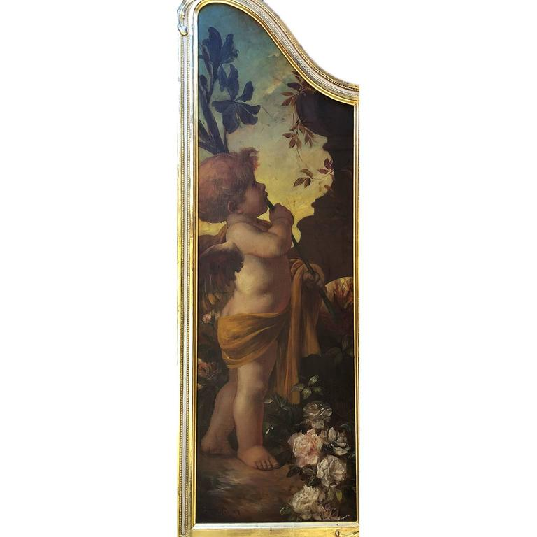 German 19th Century Oil on Canvas Triptych of Cherubs by Ferdinand Wagner II For Sale 2