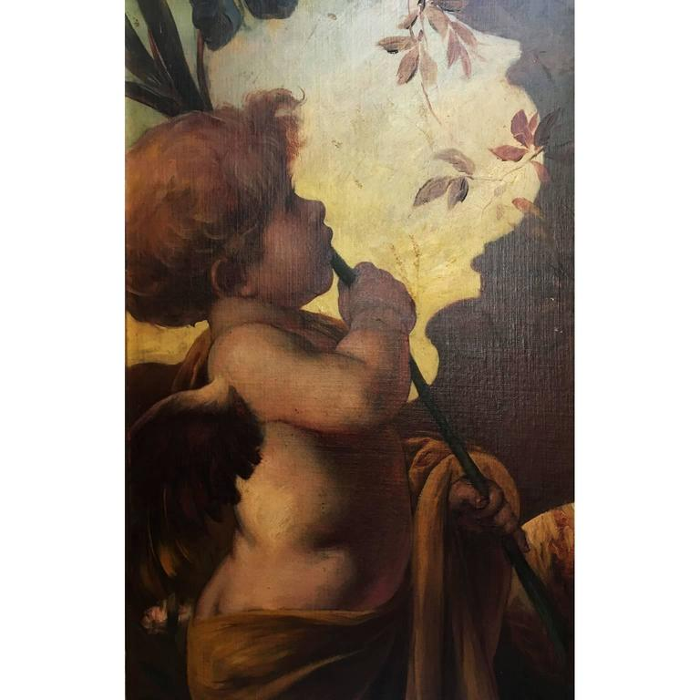 German 19th Century Oil on Canvas Triptych of Cherubs by Ferdinand Wagner II For Sale 3