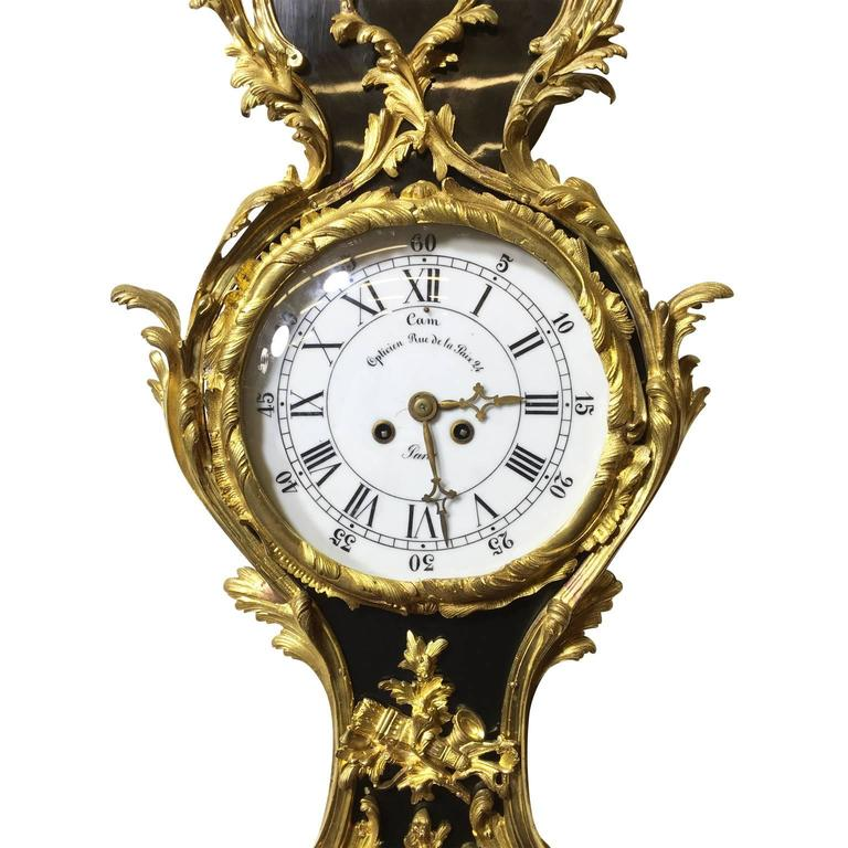Pair of French 19th Century Louis XV Style Ebonized Cartel Clock and Barometer For Sale 2