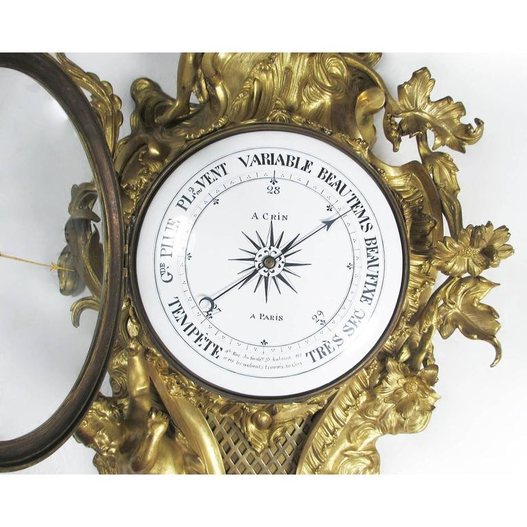 French 19th Century Louis XV Style Gilt-Bronze Cartel Barometer by A. Crin, a Paris For Sale