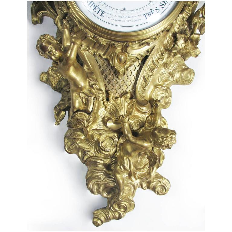 19th Century Louis XV Style Gilt-Bronze Cartel Barometer by A. Crin, a Paris In Good Condition For Sale In Los Angeles, CA
