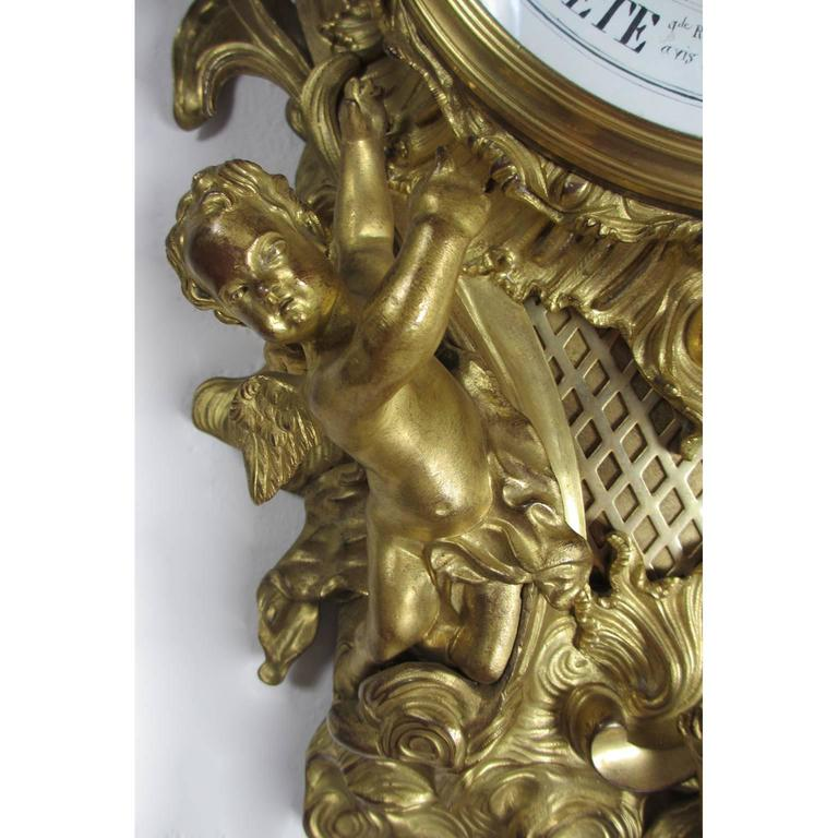 19th Century Louis XV Style Gilt-Bronze Cartel Barometer by A. Crin, a Paris For Sale 1