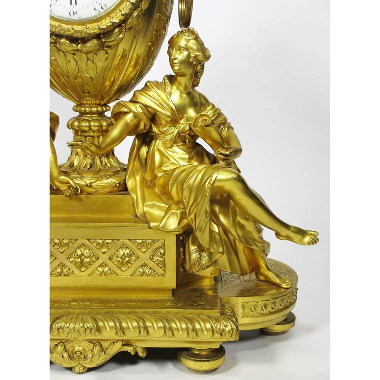 French 19th Century Louis XVI Style Gilt-Bronze Mantel Clock by Fedinand Barbedienne For Sale