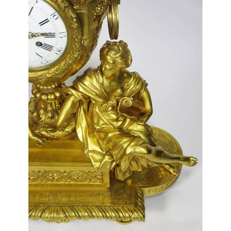 19th Century Louis XVI Style Gilt-Bronze Mantel Clock by Fedinand Barbedienne In Good Condition For Sale In Los Angeles, CA