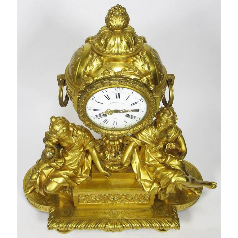 19th Century Louis XVI Style Gilt-Bronze Mantel Clock by Fedinand Barbedienne For Sale 2