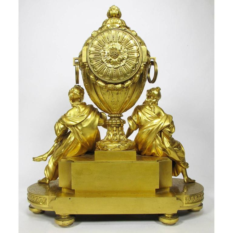 19th Century Louis XVI Style Gilt-Bronze Mantel Clock by Fedinand Barbedienne For Sale 4