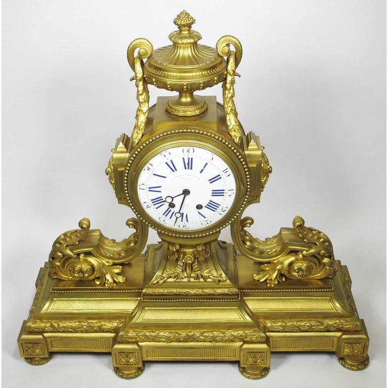French 19th Century Louis XVI Style Gilt Bronze Mantel Clock by Lemerle Charpentier For Sale