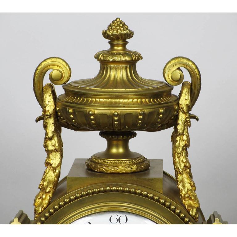 19th Century Louis XVI Style Gilt Bronze Mantel Clock by Lemerle Charpentier For Sale 2