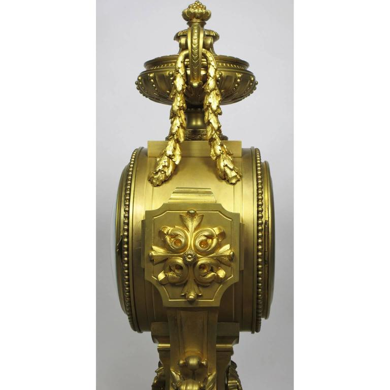 19th Century Louis XVI Style Gilt Bronze Mantel Clock by Lemerle Charpentier For Sale 4