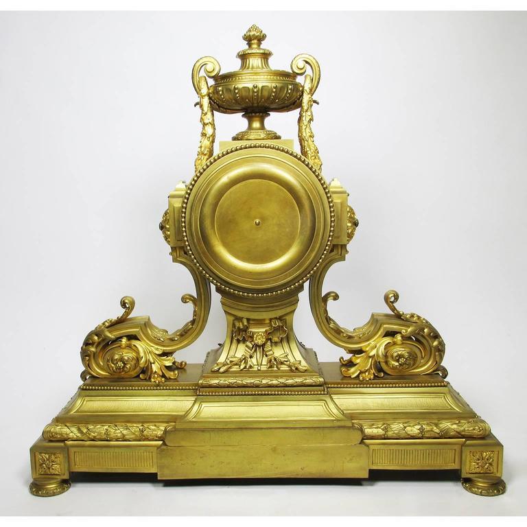 19th Century Louis XVI Style Gilt Bronze Mantel Clock by Lemerle Charpentier For Sale 5
