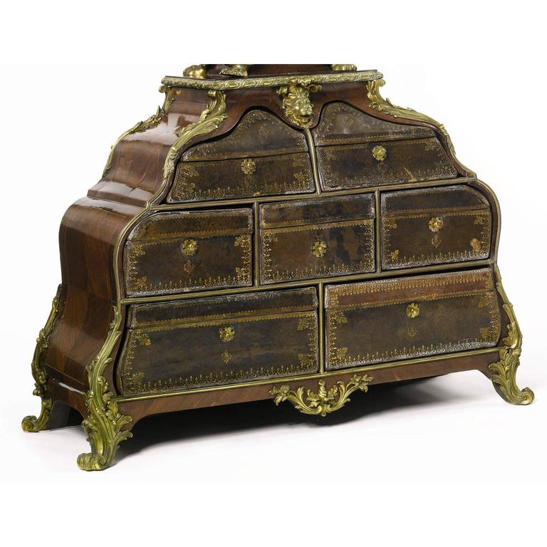Embossed French 19th Century Louis XV Style Gilt-Bronze Mounted and Leather Cartonnier For Sale