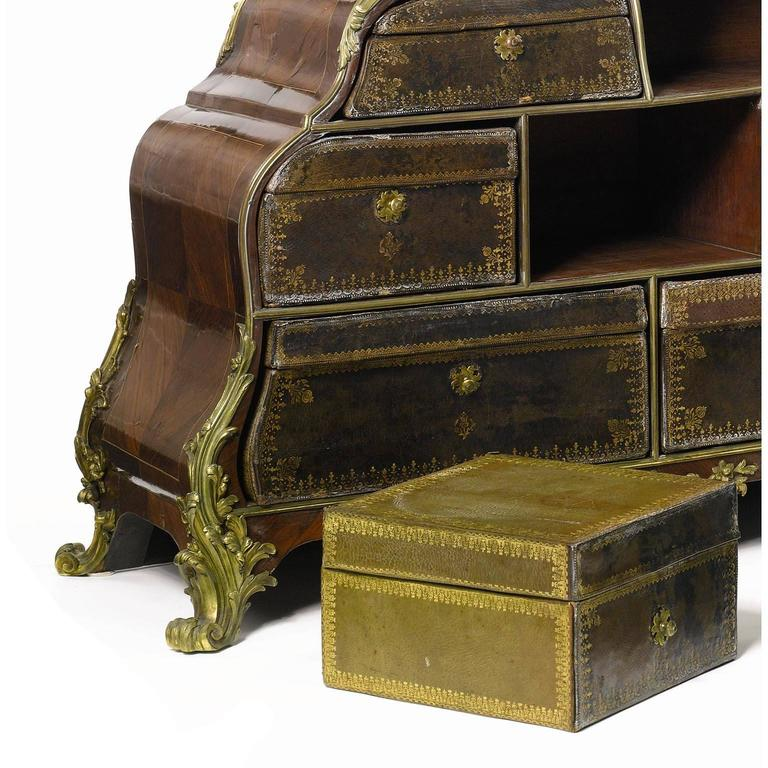 French 19th Century Louis XV Style Gilt-Bronze Mounted and Leather Cartonnier For Sale 1